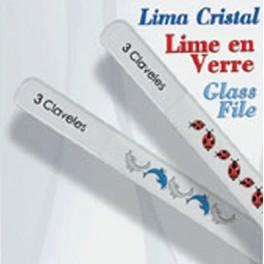 Lima de cristal Decorada 14 cm. Delfines/Mariquitas