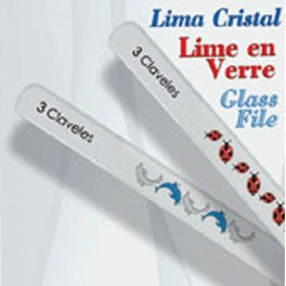 Lima de cristal Decorada 9 cm. Delfines/Mariquitas