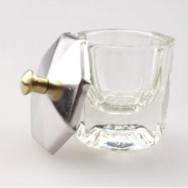 Vasito de vidrio con tapa para unas esculpid