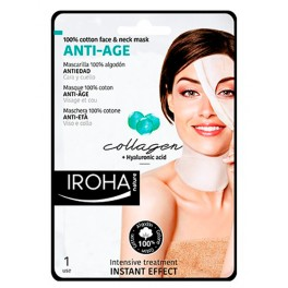 Mascarilla Tisú Intensiva para Cara y Cuello Antiarrugas Collagen Plus Iroha
